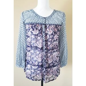 3/$25 Lucky Brand Floral Teired Boho Top S